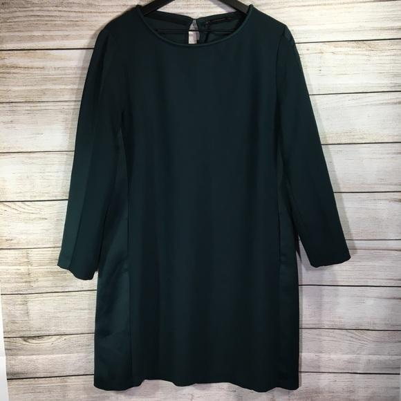 Zara Dresses & Skirts - Zara Basic Emerald Side Pockets Long Sleeve Dress